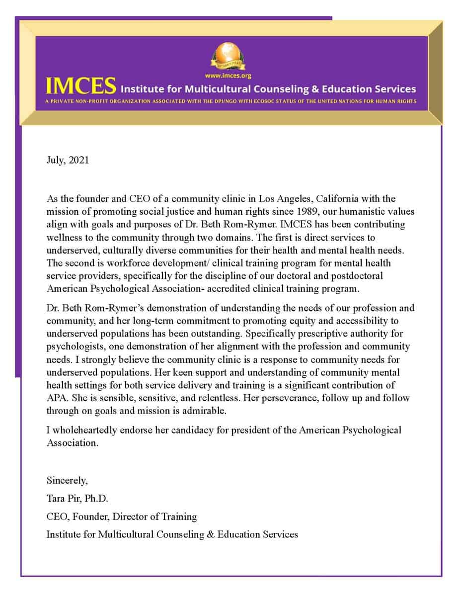 Tara Pir Ph.D. APA President Endorsement Page 1