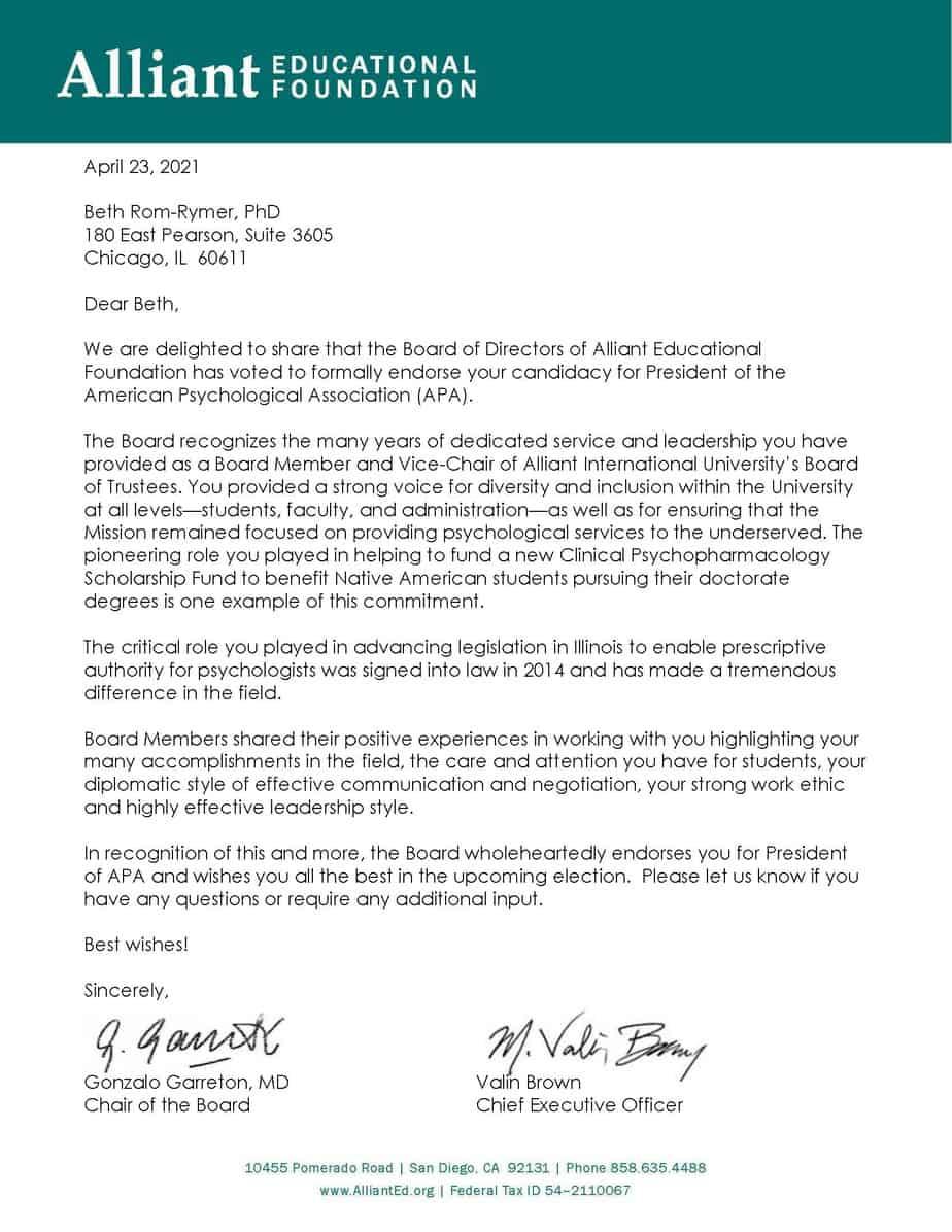 Alliant Foundation Endorsement letter for Beth N. Rom Rymer Ph.D.