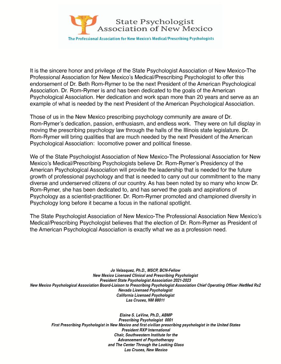 Endorse Letter Dr. Beth Rom Rymer